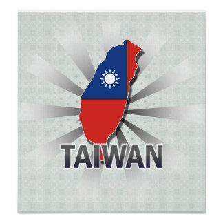 Taiwan Flag Map 2.0 Poster