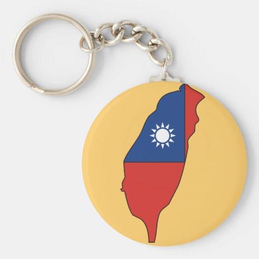 Taiwan flag map basic round button keychain