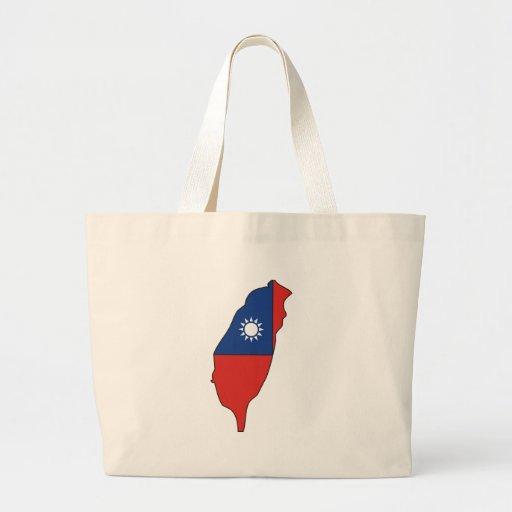 Taiwan flag map canvas bag