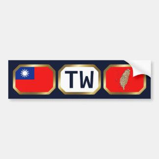 Taiwan Flag Map Code Bumper Sticker Car Bumper Sticker