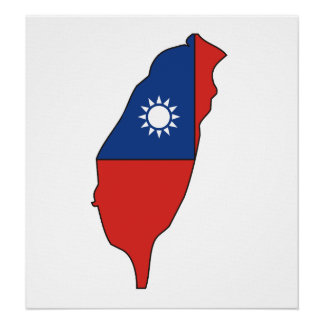 Taiwan Flag Map full size Poster