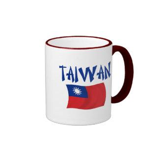 Taiwan Flag Ringer Coffee Mug