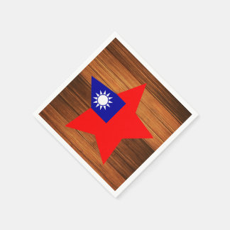 Taiwan Flag Star on Wood Paper Napkin