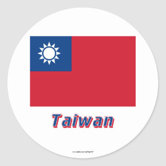 Taiwan Flag with Name Sticker