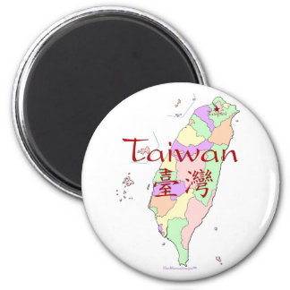 Taiwan Map 2 Inch Round Magnet