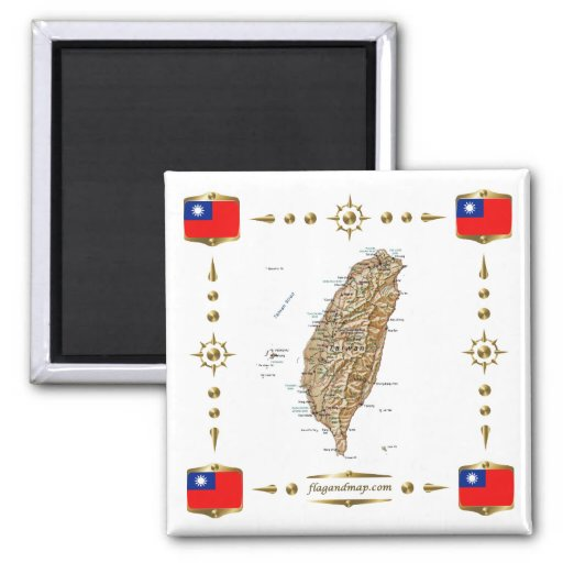 Taiwan Map + Flags Magnet