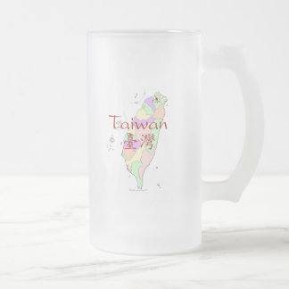 Taiwan Map Frosted Glass Beer Mug