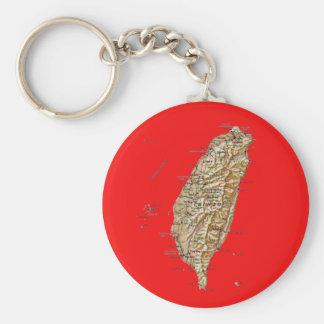 Taiwan Map Keychai Basic Round Button Keychain