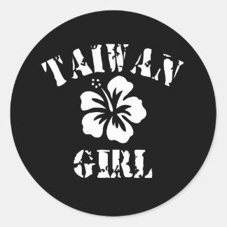 Taiwan Pink Girl Classic Round Sticker