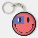 Taiwan Smiley Basic Round Button Keychain