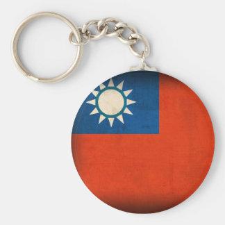 Taiwan Taipei Flag Distressed Keychain