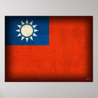 Taiwan Taipei Flag Distressed Poster Print