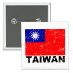 Taiwan Vintage Flag Pinback Buttons