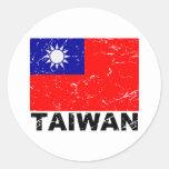 Taiwan Vintage Flag Round Sticker