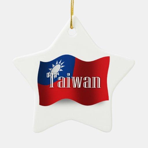 Taiwan Waving Flag Christmas Tree Ornament
