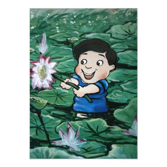 Taiwanese boy in lily pond card