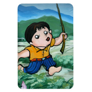 Taiwanese boy in lily pond magnet