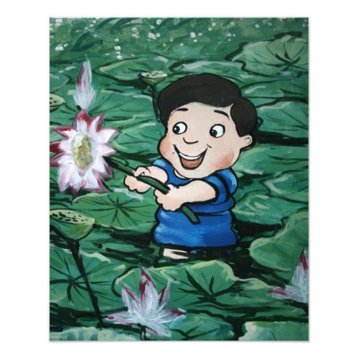 Taiwanese boy in lily pond photo print