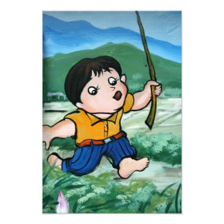 Taiwanese boy in lily pond photograph