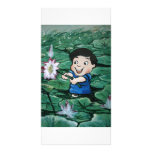 Taiwanese boy in lily pond picture card