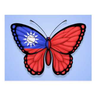 Taiwanese Butterfly Flag on Blue Postcard