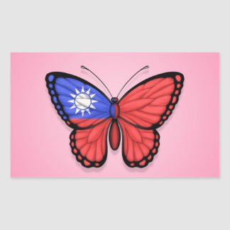 Taiwanese Butterfly Flag on Pink Rectangular Sticker