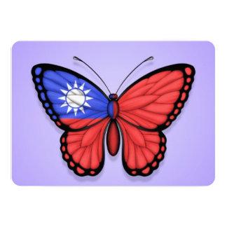 "Taiwanese Butterfly Flag on Purple 5"" X 7"" Invitation Card"