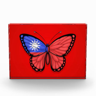 Taiwanese Butterfly Flag on Red Acrylic Award