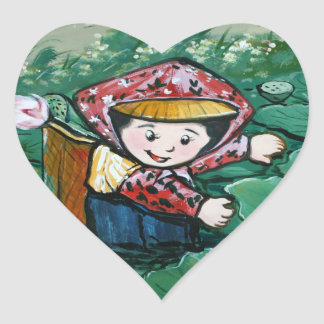Taiwanese child in lily pond heart sticker