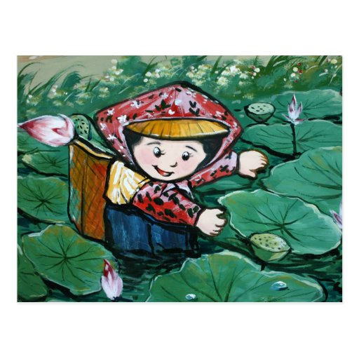 Taiwanese child in lily pond postcard