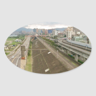 Taiwanese City and Landscape Oval Sticker