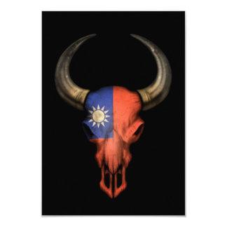 Taiwanese Flag Bull Skull on Black 3.5x5 Paper Invitation Card