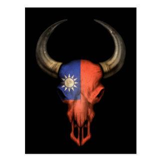 Taiwanese Flag Bull Skull on Black Postcard