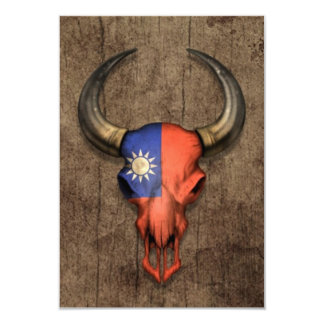 Taiwanese Flag Bull Skull on Wood Effect 3.5x5 Paper Invitation Card