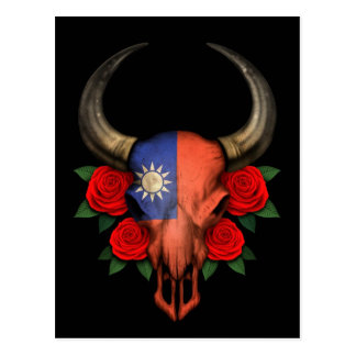 Taiwanese Flag Bull Skull with Red Roses Postcard