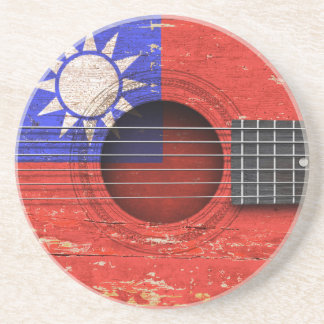 Taiwanese Flag on Old Acoustic Guitar Coaster