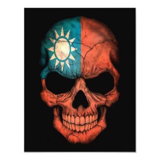 Taiwanese Flag Skull on Black Card