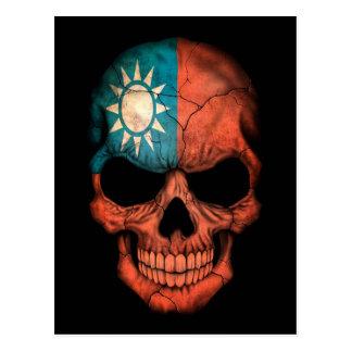Taiwanese Flag Skull on Black Postcard