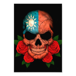 Taiwanese Flag Skull with Red Roses 3.5x5 Paper Invitation Card