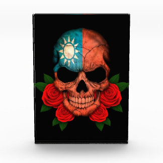 Taiwanese Flag Skull with Red Roses Acrylic Award