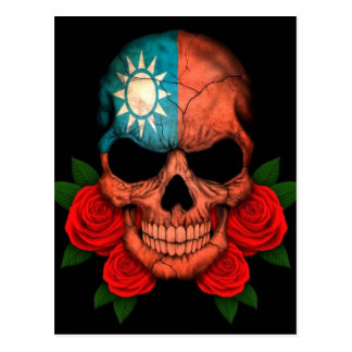 Taiwanese Flag Skull with Red Roses Postcard