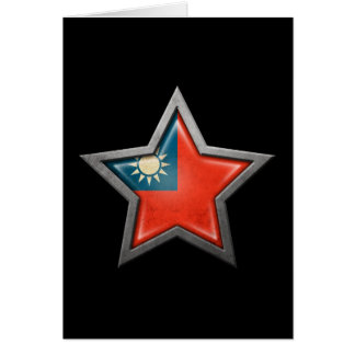 Taiwanese Flag Star on Black Card