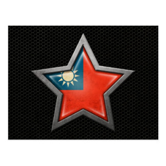 Taiwanese Flag Star with Steel Mesh Effect Postcard