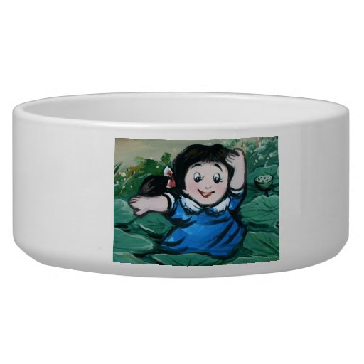 Taiwanese girl in lily pond bowl