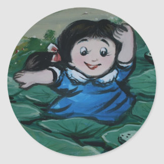 Taiwanese girl in lily pond classic round sticker