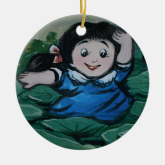 Taiwanese girl in lily pond christmas ornaments