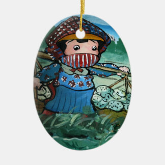 Taiwanese girl in lily pond christmas ornament