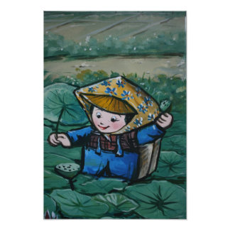 Taiwanese girl in lily pond photo art