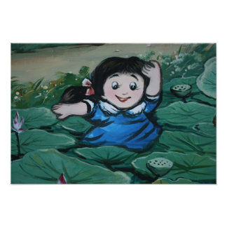 Taiwanese girl in lily pond photo