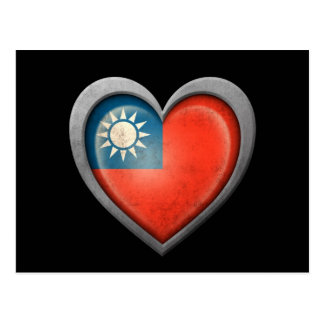 Taiwanese Heart Flag with Metal Effect Postcard